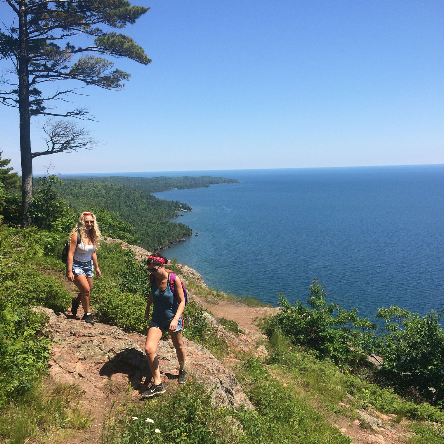 hiking trail overlooking lake superior